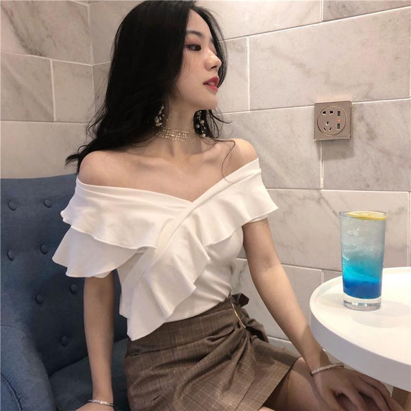 FRILLED WHITE BLACK OPEN SHOULDERS SEXY SHIRT