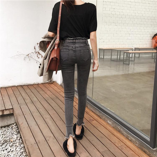 FRINGE BLACK GRAY LINES SLIM DENIM JEANS