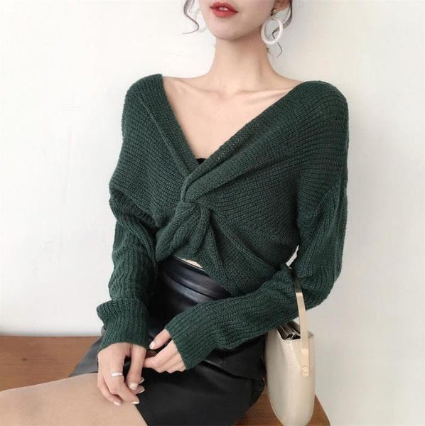 FRONT BOW KNOT KNIT LONG SLEEVE SWEATER
