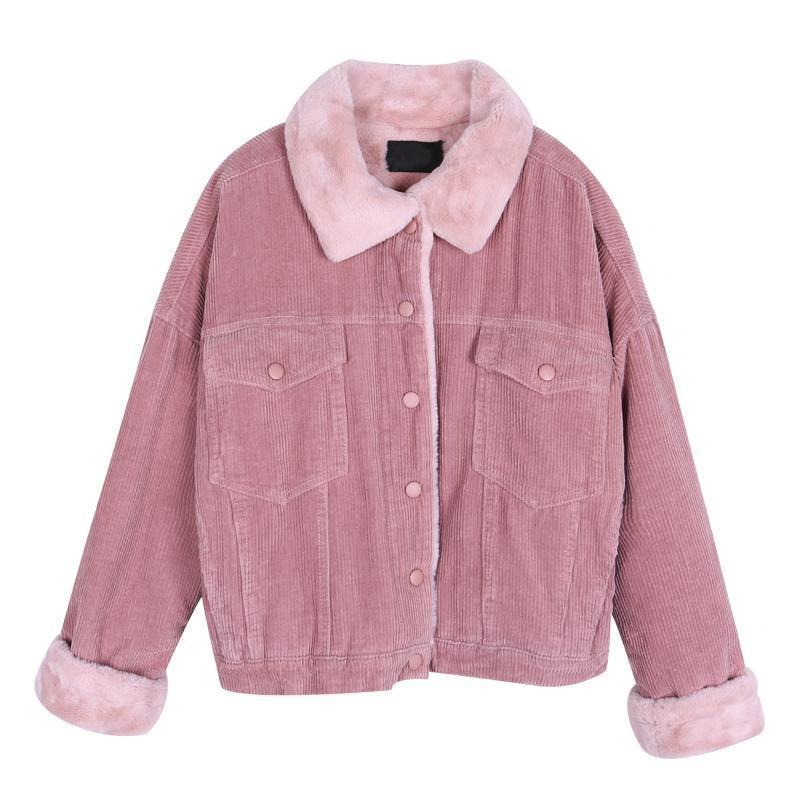 FULL COLORED CORDUROY FAUX LAMP COLLAR BUTTONS OUTWEAR JACKET