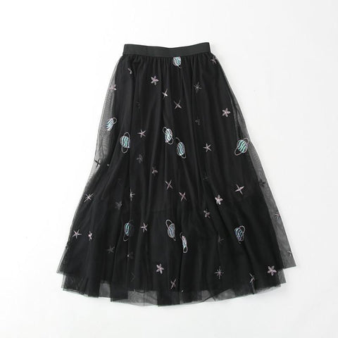 GAUZE COSMO SATURN SEW ON LONG BLACK SKY SKIRT