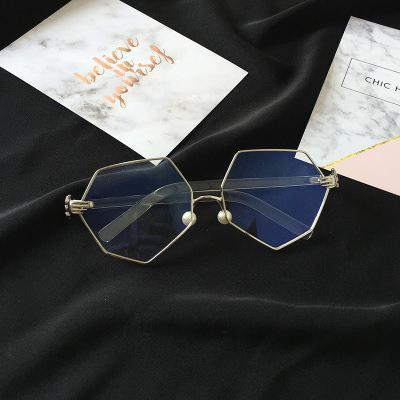 GEOMETRIC METALLIC FRAME CLEAR KOREAN GLASSES