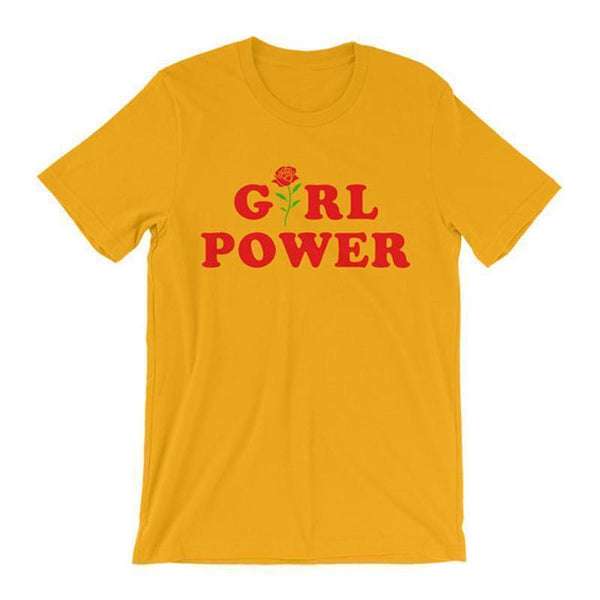 GIRL POWER ROSE FLOWER YELLOW WHITE COTTON FEMENISTIC T-SHIRT
