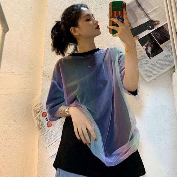 GRADIENT COLOR MESH FAKE TWO PIECE LOOSE T-SHIRT