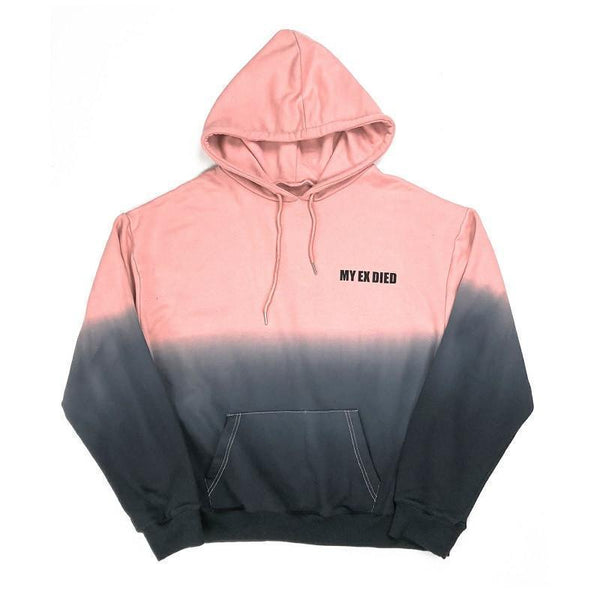 GRADIENT PASTEL COLORS LETTER EMBROIDERY OVERSIZED HOODIE