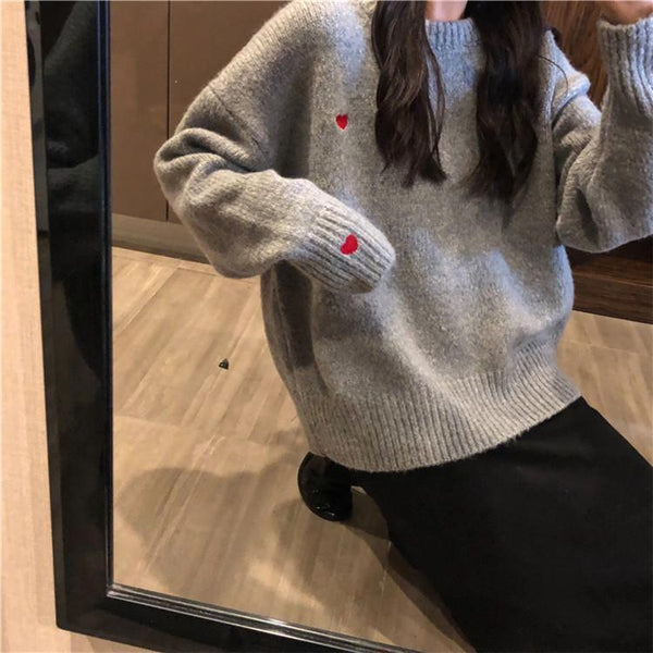 GRAY APRICOT UNISEX CUTE HEART EMBROIDERIES SWEATER