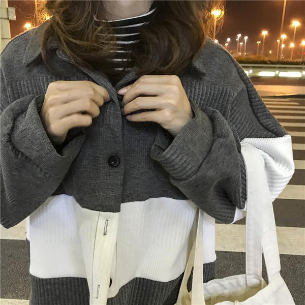 GRAY BLACK INTERNET GIRL AESTHETIC CARDIGAN SWEATER