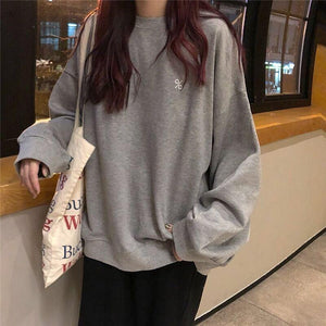 GRAY BLACK PERCENT EMBROIDERY OVERSIZED THIN SWEATSHIRT