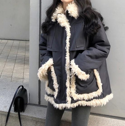 GRAY LOOSE FAUX FUR PADDED OUTWEAR COAT