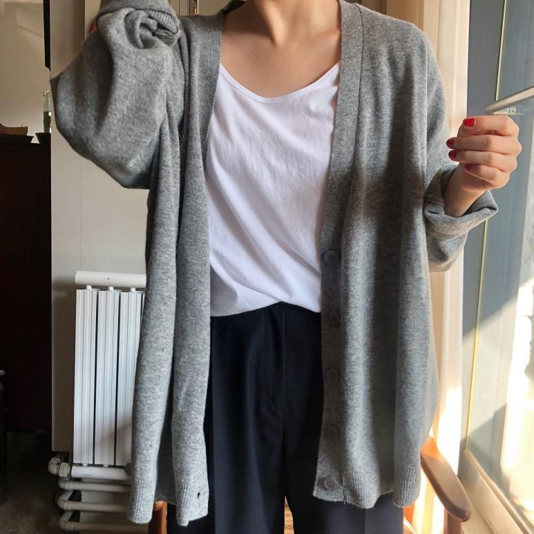 GRAY LOOSE THIN BUTTONS LONG SLEEVE CARDIGAN