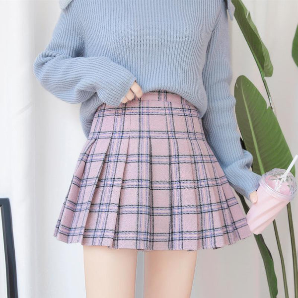 GRAY PINK SCHOOL STYLE GRAND PLAID PLEATED AESTHETIC SKIRTS