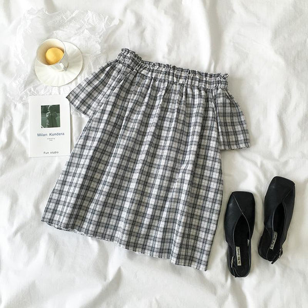 GRAY PLAID FLARED DOWN SHOULDERS TOP