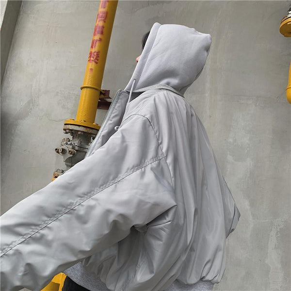 GRAY WINDBREAKER OVERSIZED HOODED JACKET