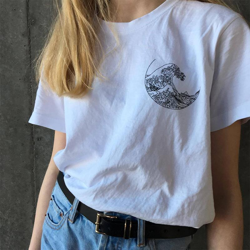 GREAT WAVE HOKUSAI PRINT ART HOE WHITE BLACK T-SHIRT