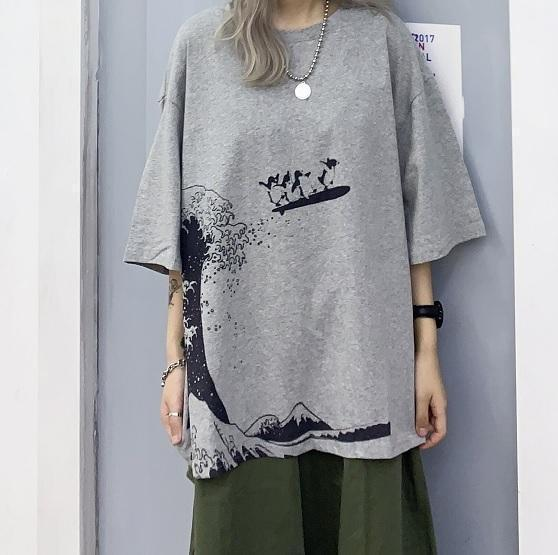 GREAT WAVE PRINT GRAY WHITE OVERSIZED T-SHIRT