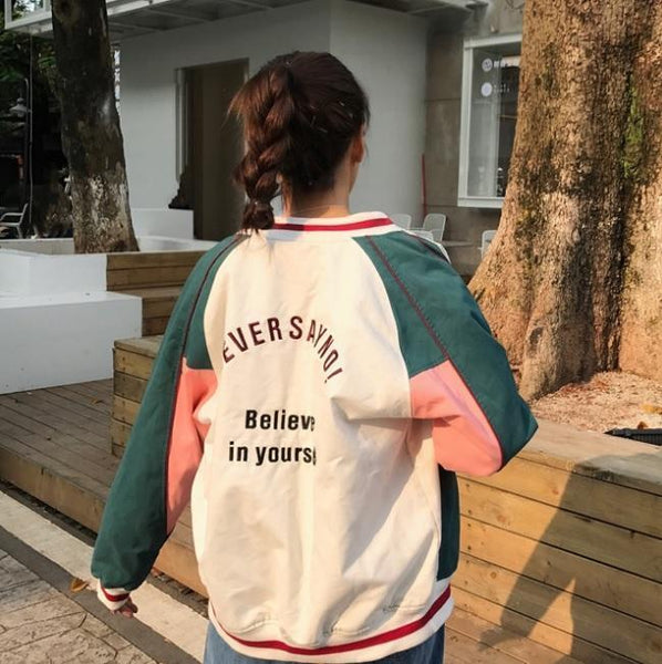 GREEN GRAY LINES RETRO EMBROIDERY LETTERS BOMBER JACKET