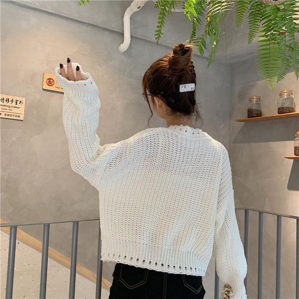 GREEN WHITE VINTAGE AESTHETIC KNIT CROPPED LOOSE SWEATER