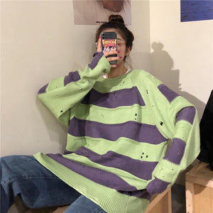 GRUNGE AESTHETIC CONTRAST STRIPES LOOSE RIPPED SWEATER