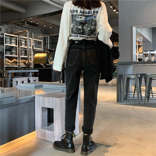 GRUNGE BLACK DENIM HIGH WAIST STRAIGHT LOOSE JEANS