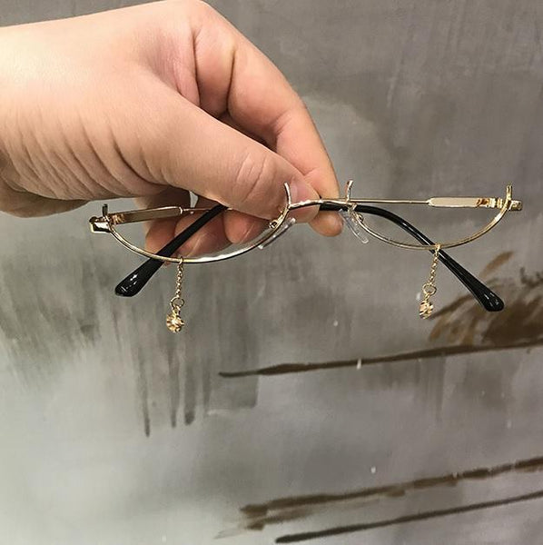 HALF OVAL FRAME TINY TEAR DROPS GRUNGE METAL GLASSES