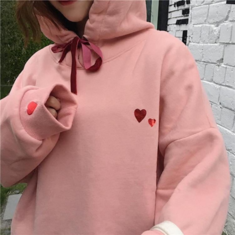HEART PRINT PINK COZY WARM HOODIE RIBBON TASSEL