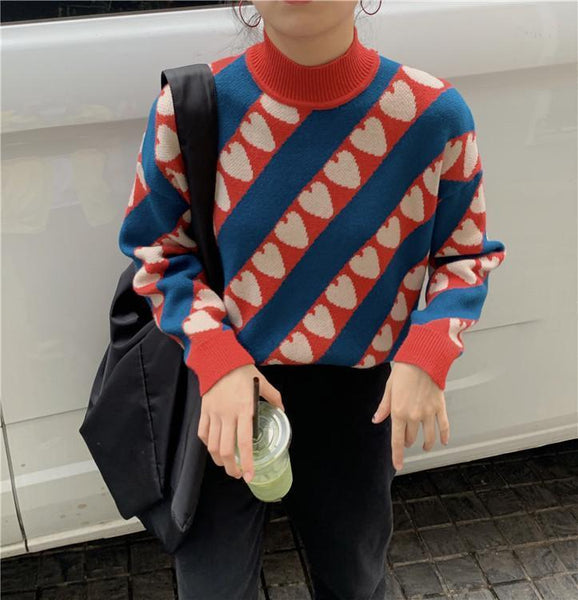 HEARTS PRINTED HALF NECK COLLAR KNITTED SWEATER