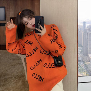 HELLO LETTER PRINT OVERSIZED KNITTED SWEATER