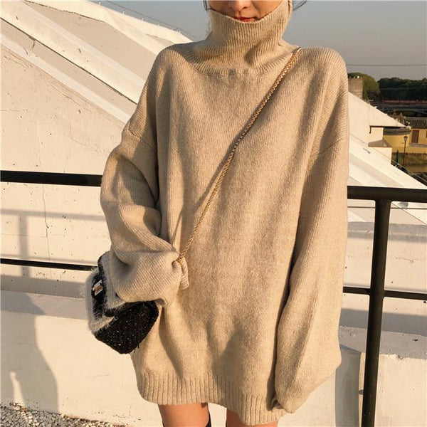 HIGH COLLAR OVERSIZE KNIT LONG SWEATER