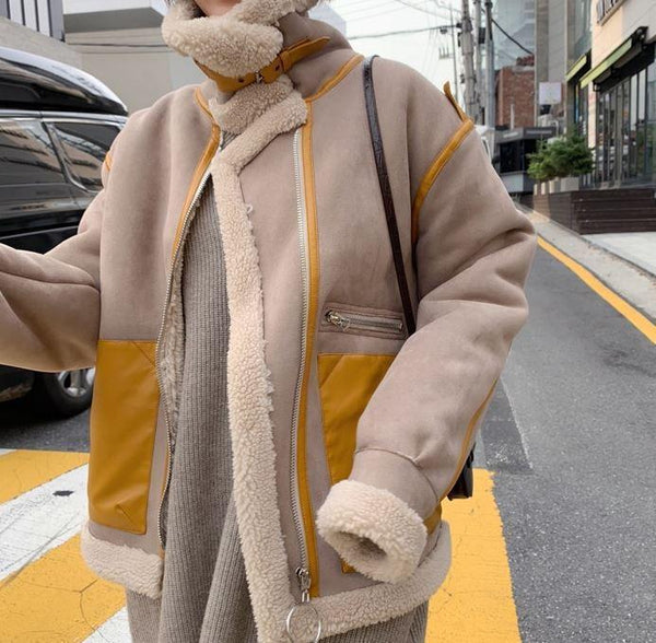 HIGH COLLAR YELLOW POCKETS OVERSIZED JACKET