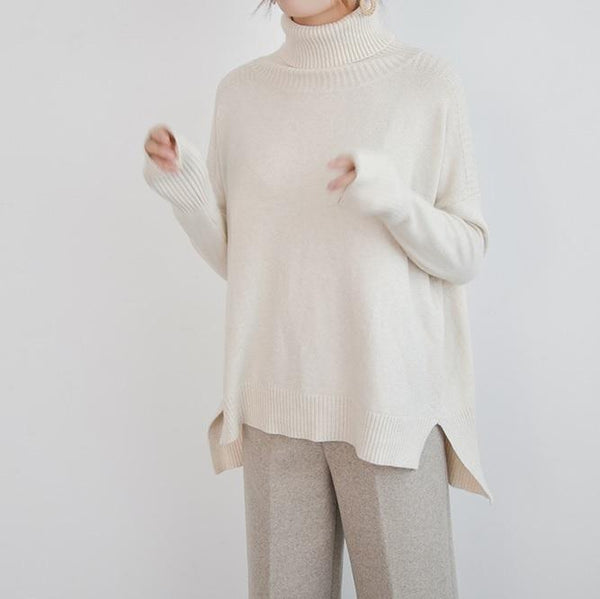 HIGH NECK LONG RIBBED KNIT SWEATER
