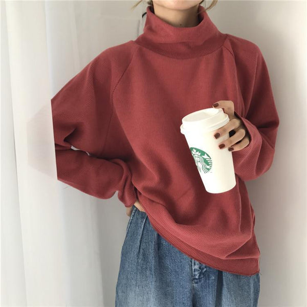 HIGH TURTLE NECK LOOSE RIBBED SWEATER