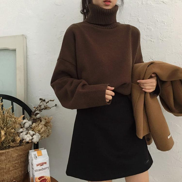 HIGH TURTLE NECK THIN KNIT WARM COZY AUTUMN SWEATER