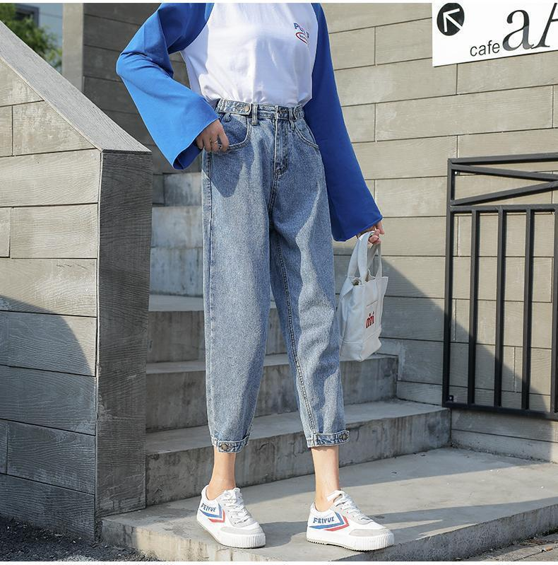 HIGH WAIST RETRO BLUE GRAY BLACK ANKLE BUTTONS JEANS