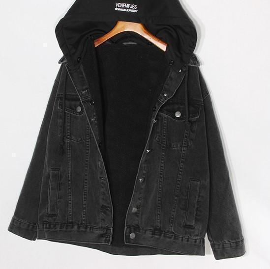 HOODED FAUX FUR LINING DENIM JACKET