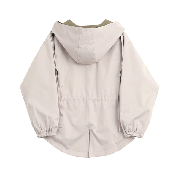 HOODED WINDBREAKER CASUAL BEIGE DRAWSTRING WAIST JACKET