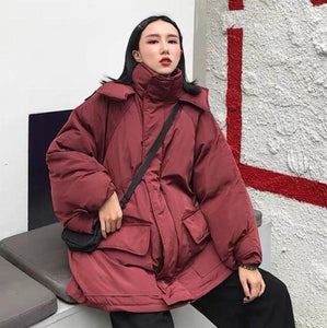 HUGE COAT ELASTIC WAIST THICK COTTON LOOSE LONG JACKET
