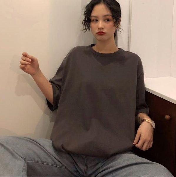 HUGE OVERSIZED ROUND NECK SOLID COLORS T-SHIRT