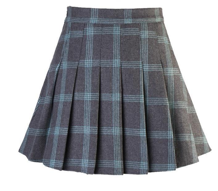 HUGE PLAID TARTAN PATTERN PLEATED COLLEGE SKIRT