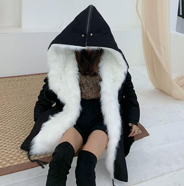 HUGE WHITE FAUX FUR HOOD BLACK LOOSE COAT