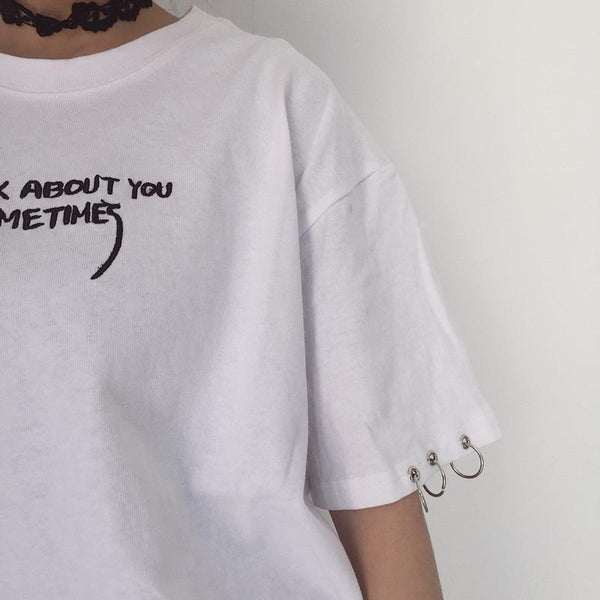 I THINK ABOUT YOU SOMETIMES EMBROIDERY LETTERS PIERCING RINGS SLEEVE TSHIRT