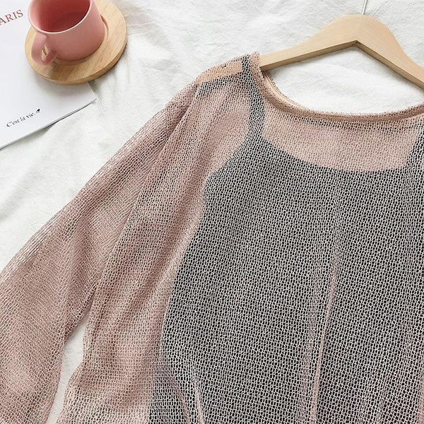 IRREGULAR BEVELED CROCHET KNIT BLOUSE