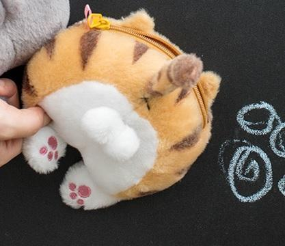 KAWAII CUTE CAT BOOTY TAIL PAWS SOULDER CHAIN PLUSH TOY BAG
