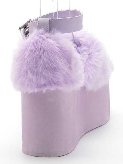 KAWAII PURPLE FAUX FUR SLUFFY HIGH PLATFORM SANDALS