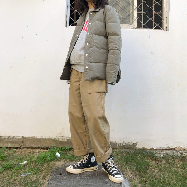 KHAKI ARMY GREEN LOOSE STRAIGHT BIG POCKETS PANTS