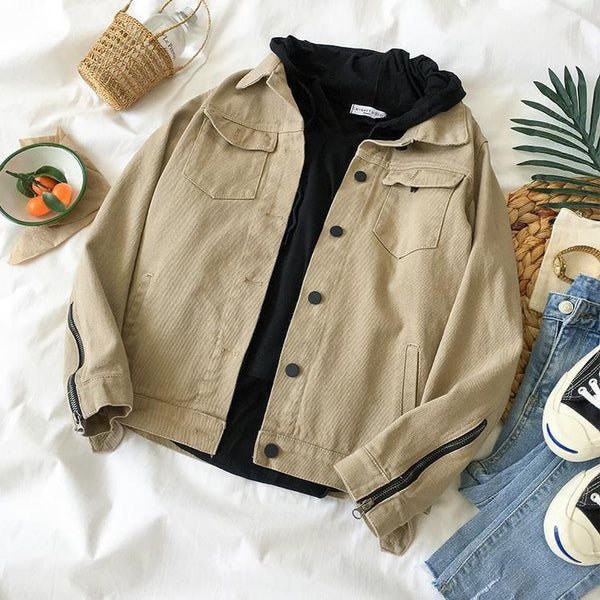 KHAKI BLACK BUTTONS ZIP SLEEVES DENIM JACKET