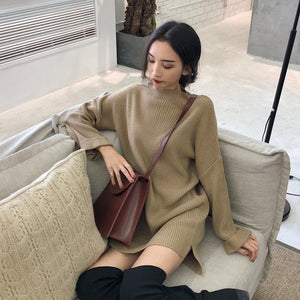 KNIT LONG LOOSE BEIGE BLACK CREAM SWEATER