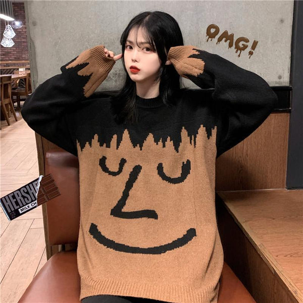 KNIT SMILEY FACE INTERNET GIRL OVERSIZED SWEATER
