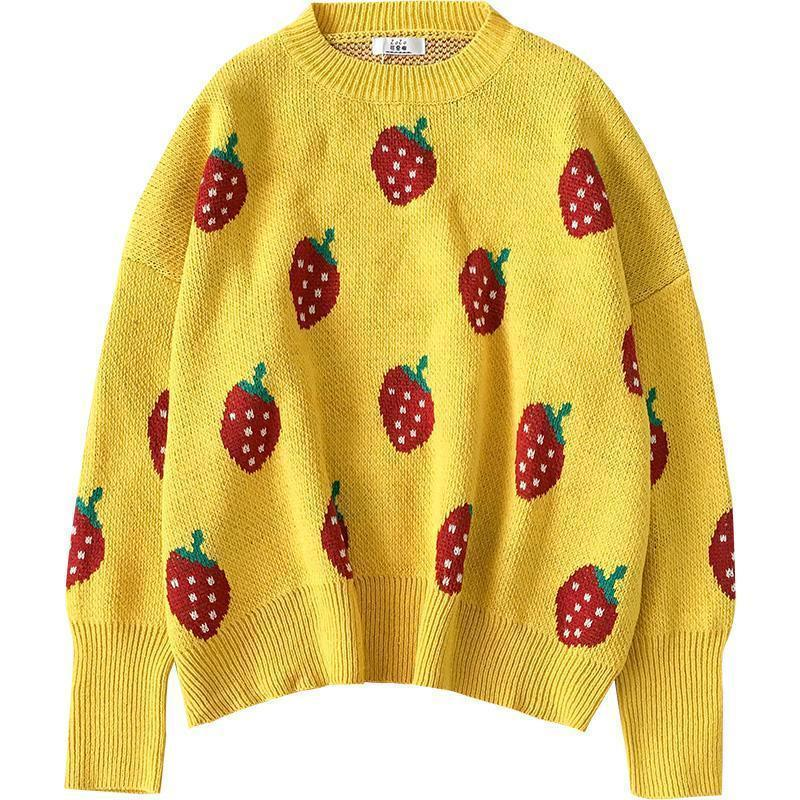 KNIT STRAWBERRY PATTERN CUTE O-NECK SWEATER