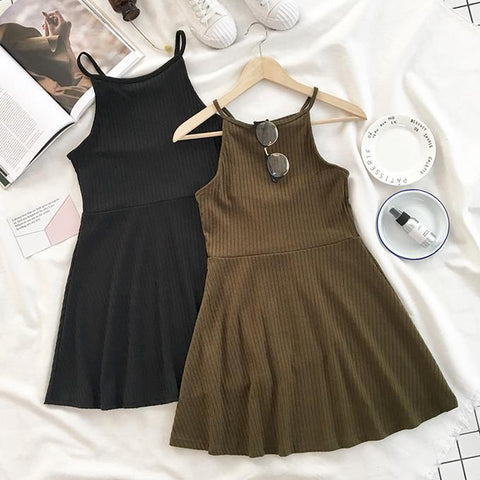 KNIT SUMMER HALTER ARMY GREEN BLACK DRESS