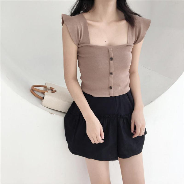 KNIT WAVY SHOULDERS ELEGANT FRON BUTTONS TOP